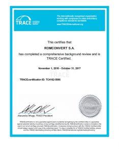 certificat TRACE